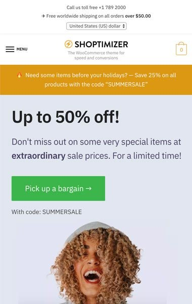 Shoptimizer WooCommerce Theme on Mobile