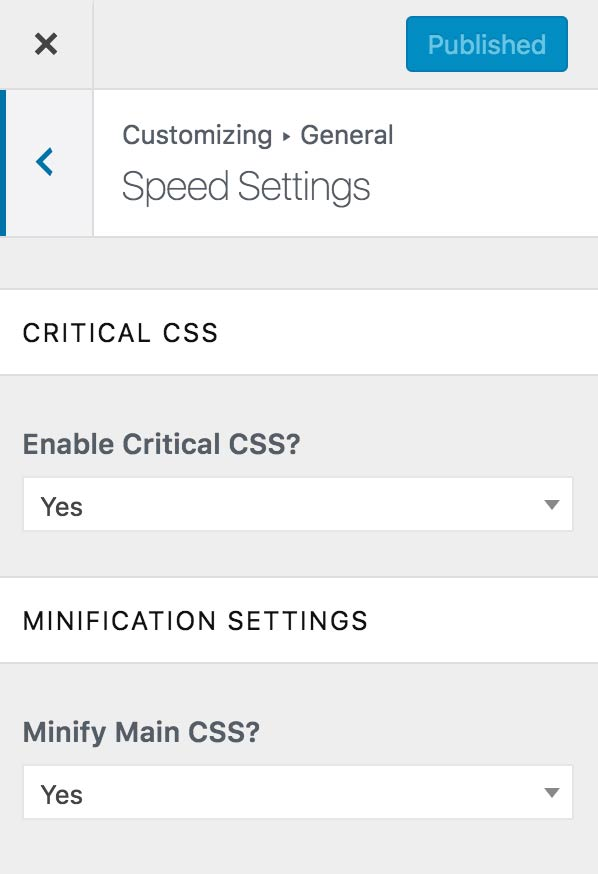 Speed settings in the customizer
