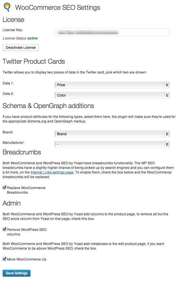Screenshot of Yoast WooCommerce SEO plugin admin screen.