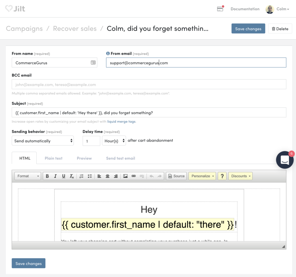 Jilt - Edit Email Screen