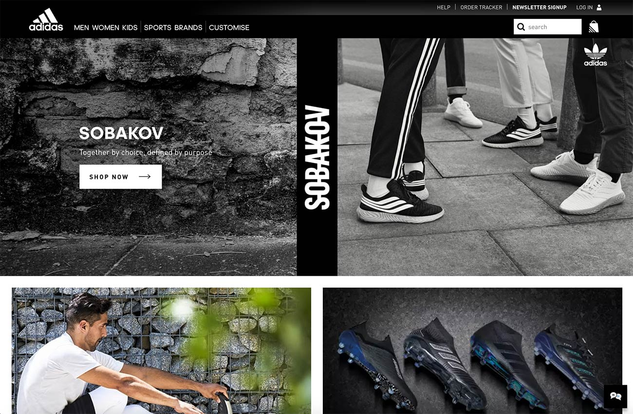 Adidas homepage screenshot (without any sliders)