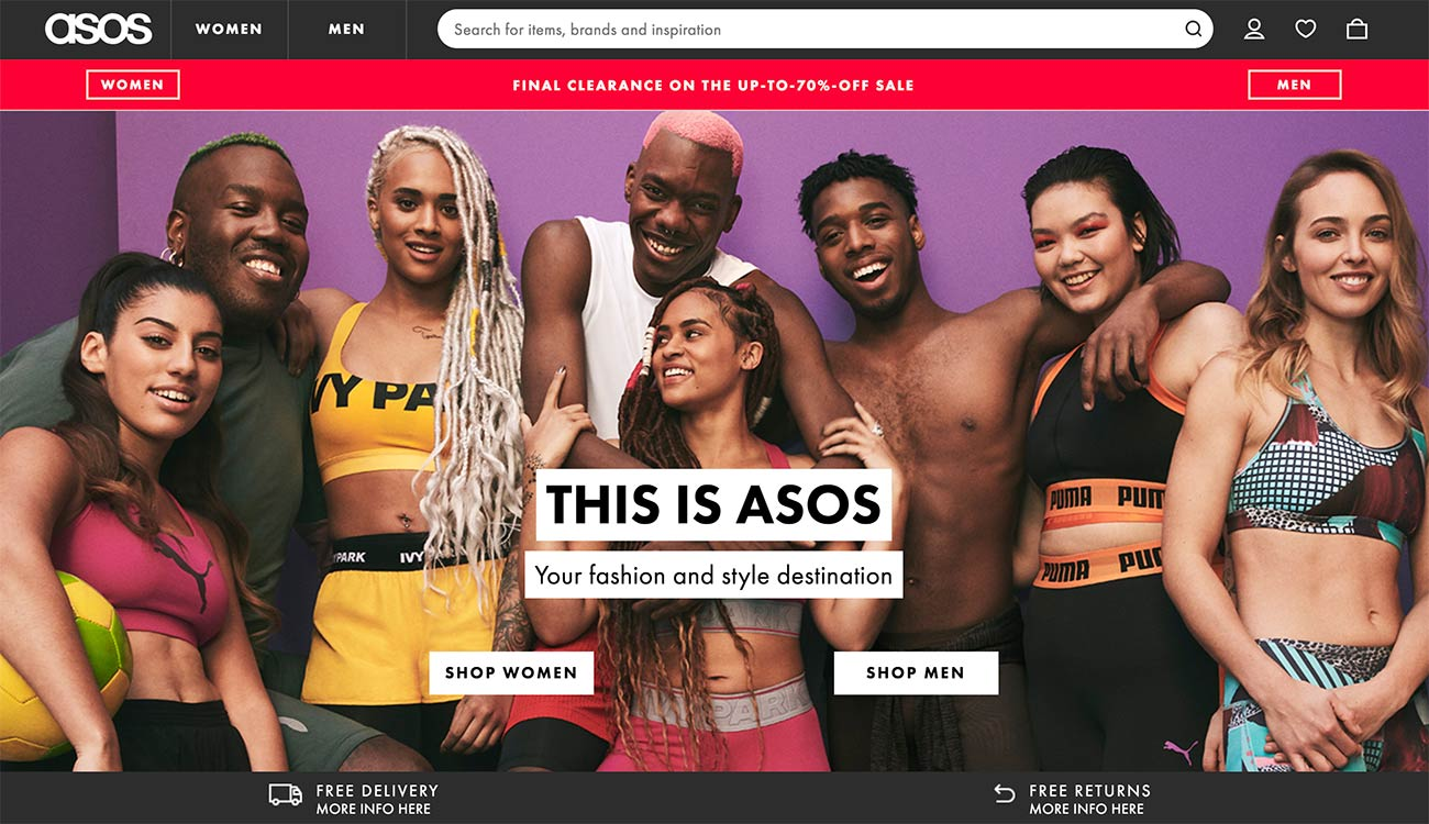 ASOS homepage screenshot (without any sliders)