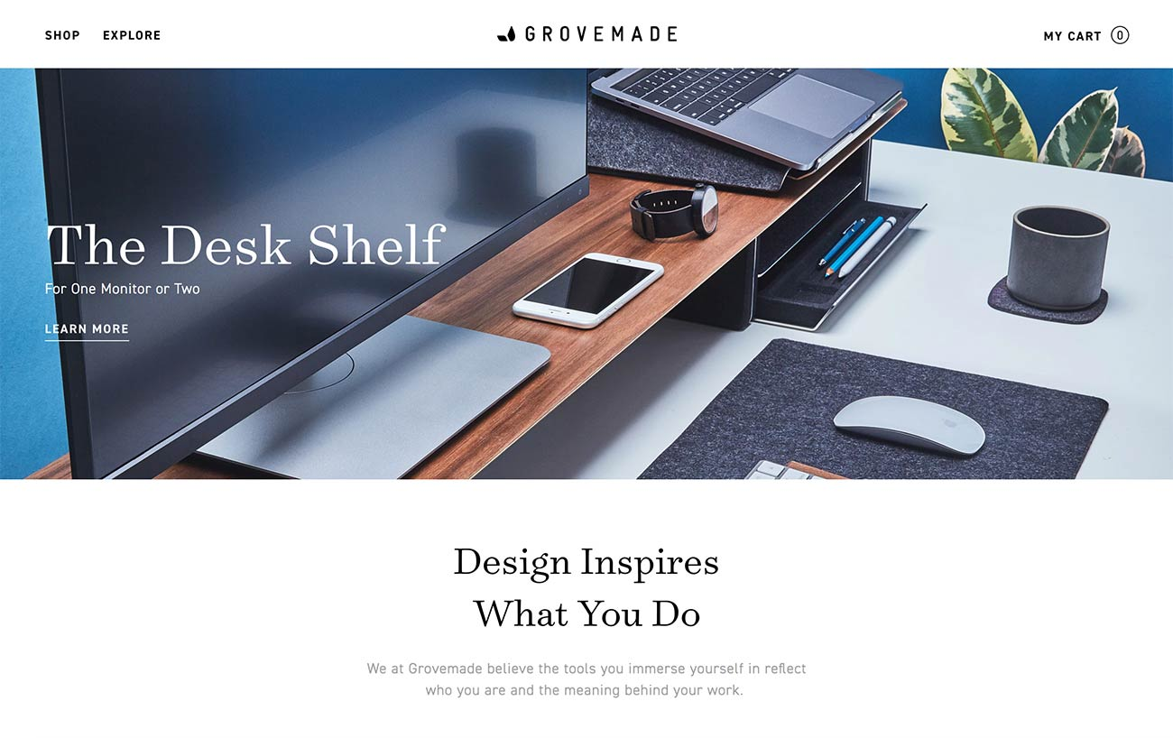 Grovemade homepage screenshot (without any sliders)