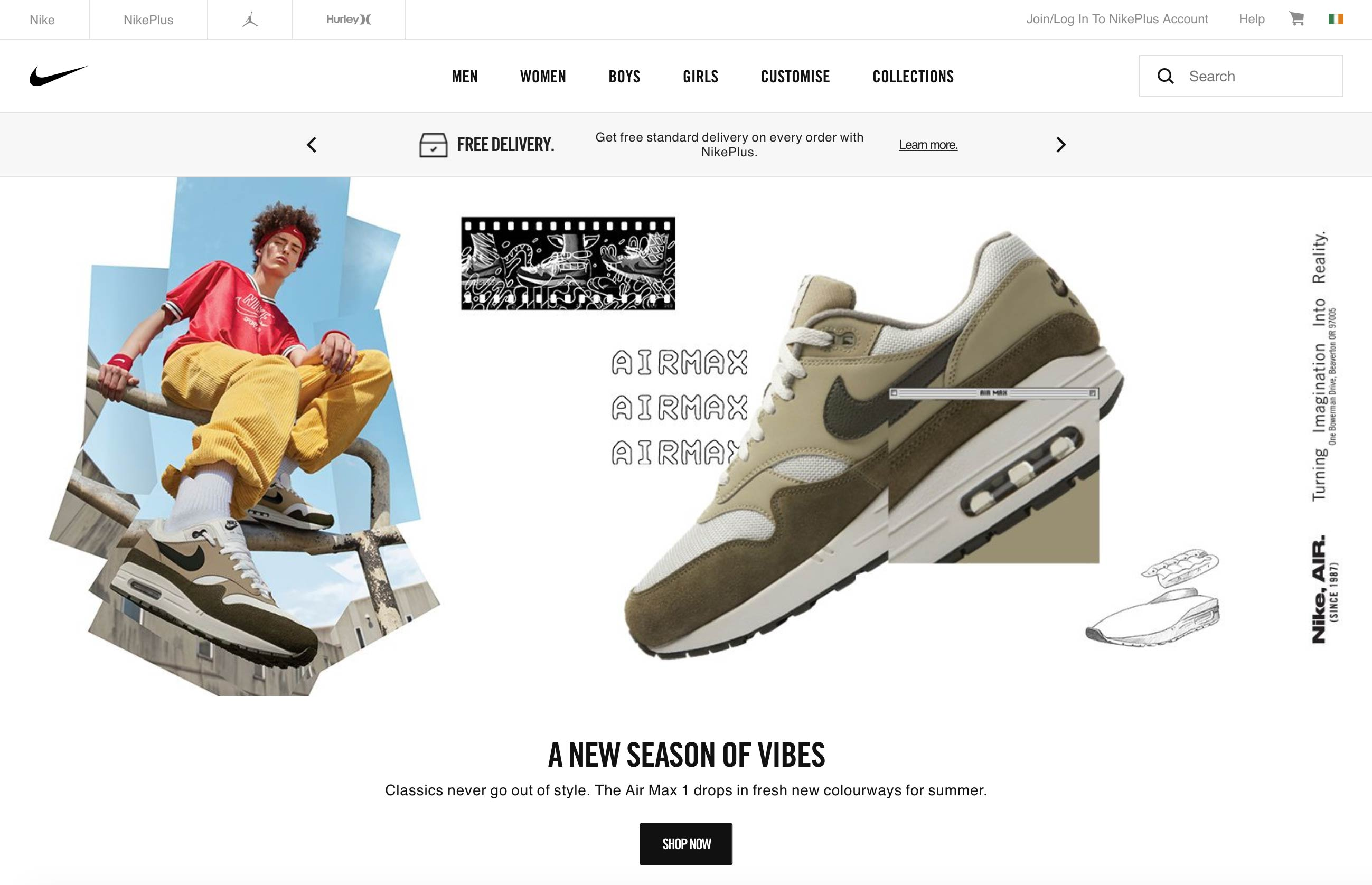 Nike homepage screenshot (without any sliders)