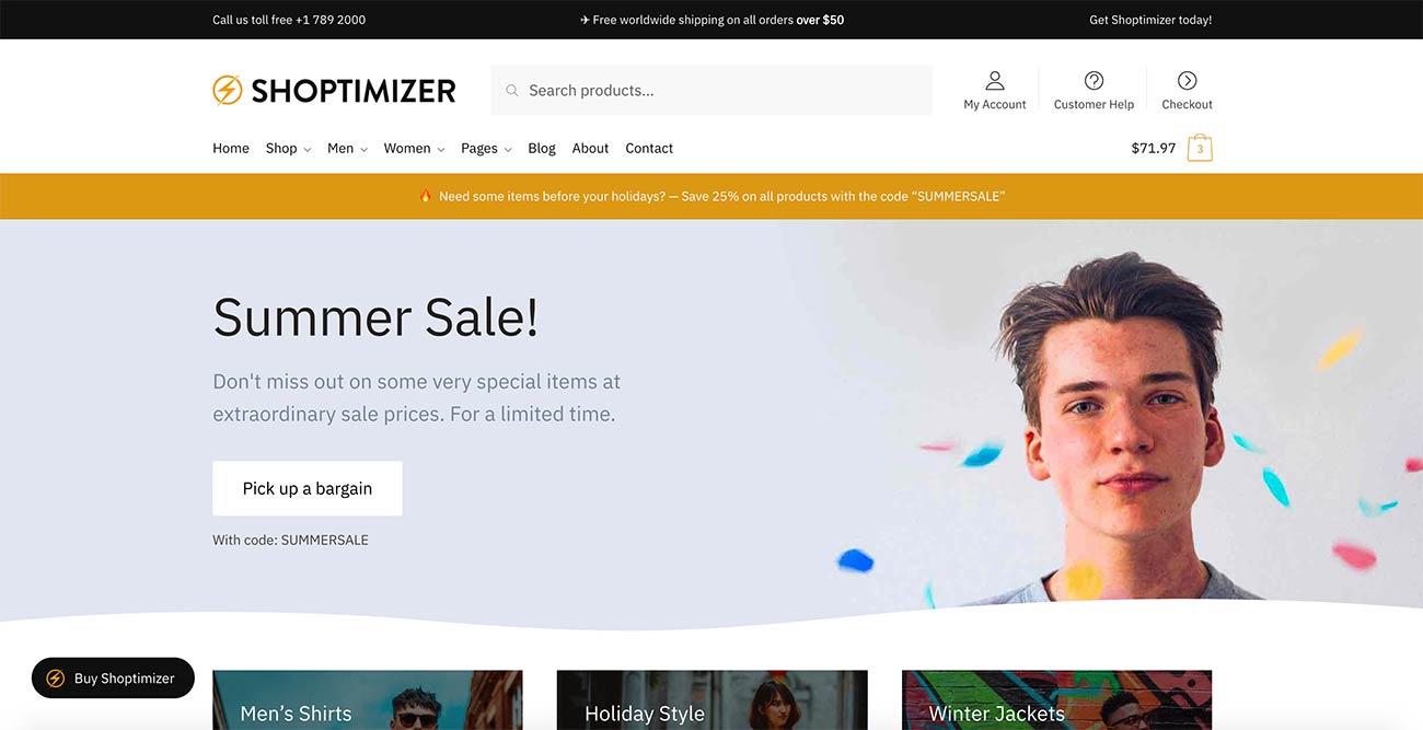 Shoptimizer WooCommerce Theme homepage (without slider)