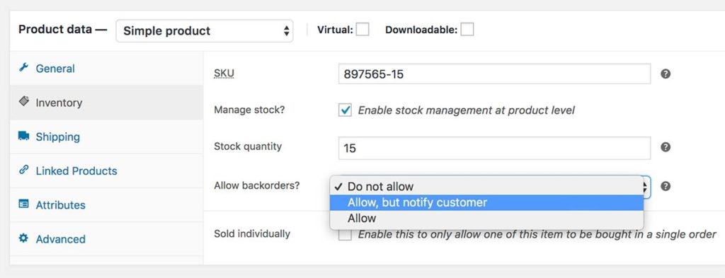 You can switch on backorders at a product level and alert customers that it is the case