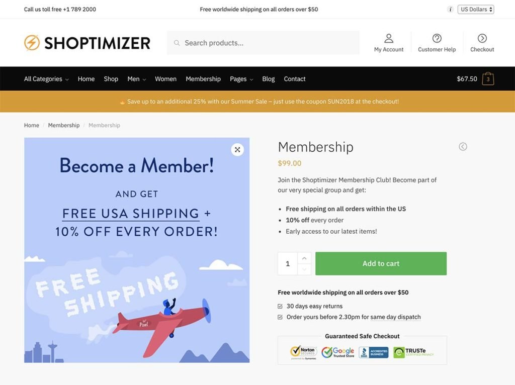 Using the WooCommerce Memberships plugin with our Shoptimizer WooCommerce theme