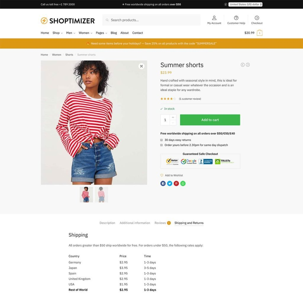 Conversion rate tips - #3: The Shoptimizer single product page includes a section for delivery information below the main add to cart button.