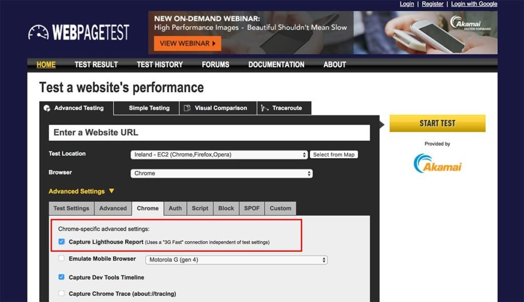 Webpagetest - tick the 'Capture Lighthouse Report' option within the Chrome tab