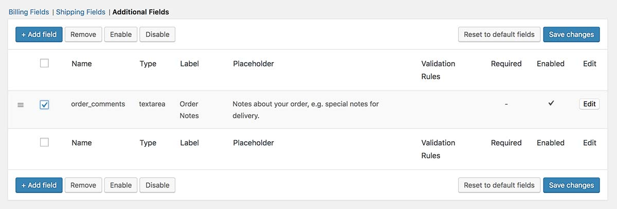 Using the Advanced Checkout Fields plugin to remove the Order Notes option