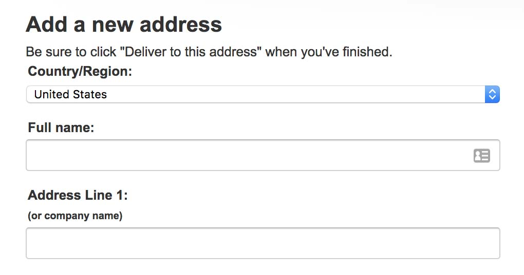 Amazon's checkout form includes Company Name subtext below the Address Line 1 field.