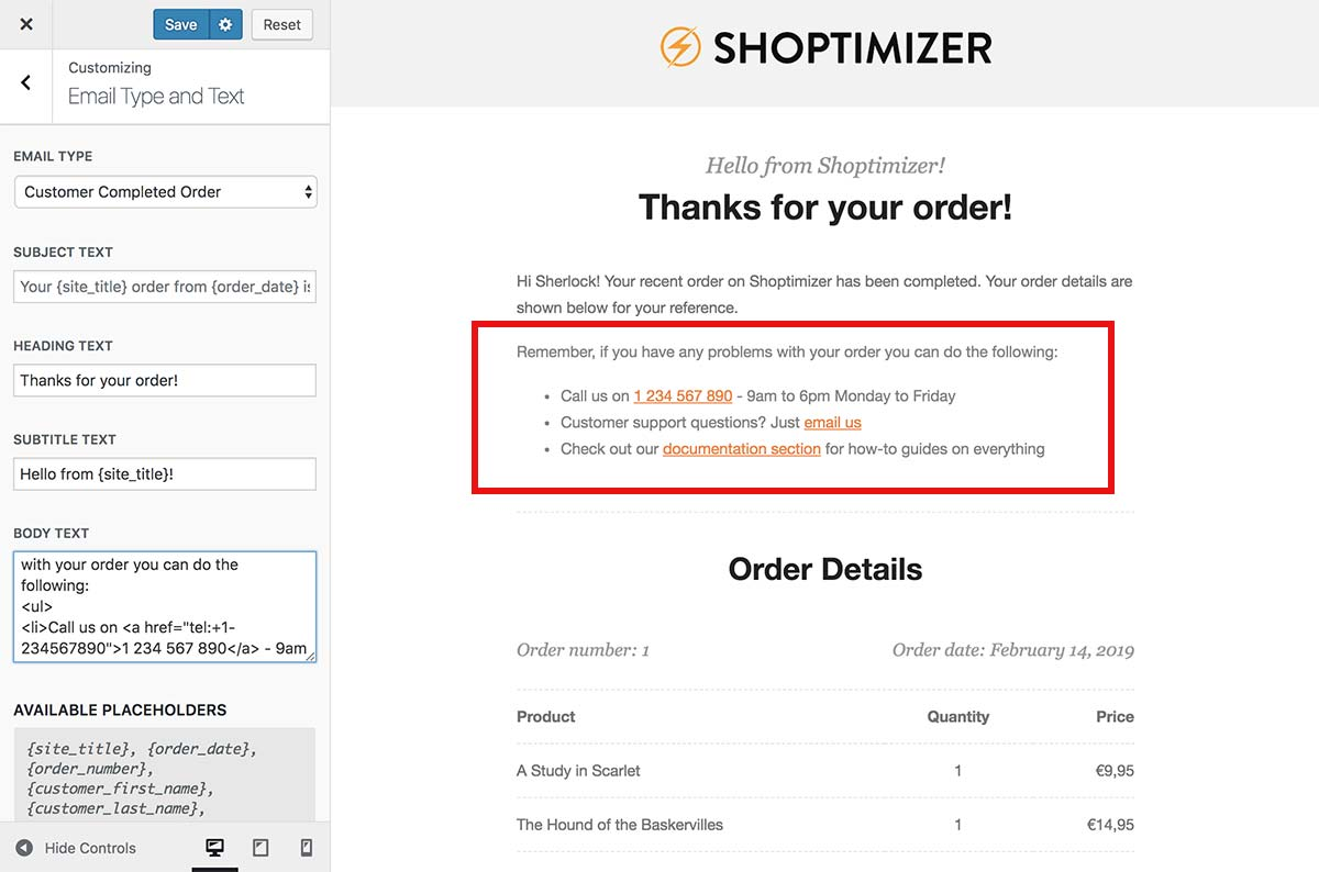 Changing the default WooCommerce email content