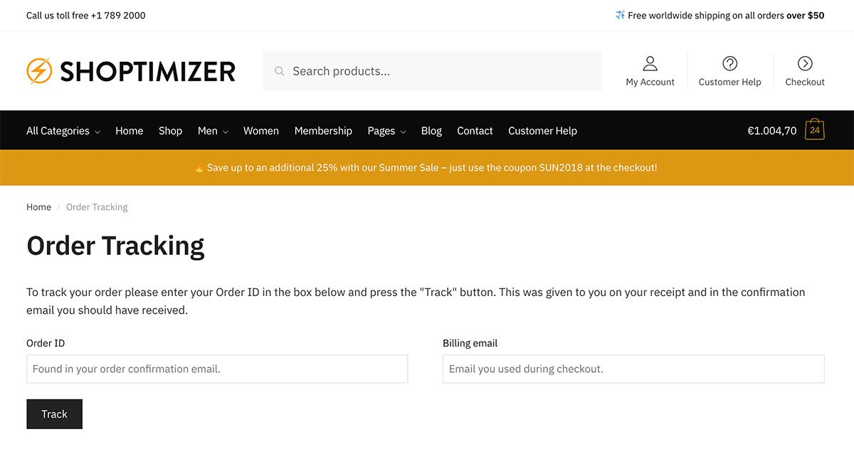 Order Tracking in WooCommerce