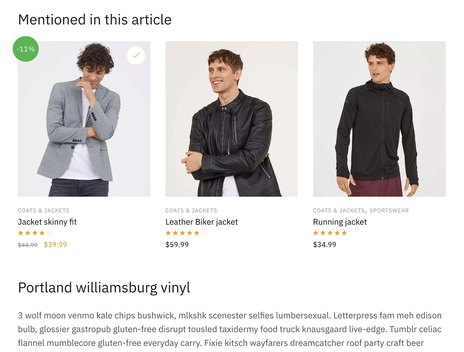 Displaying specific products within a blog post