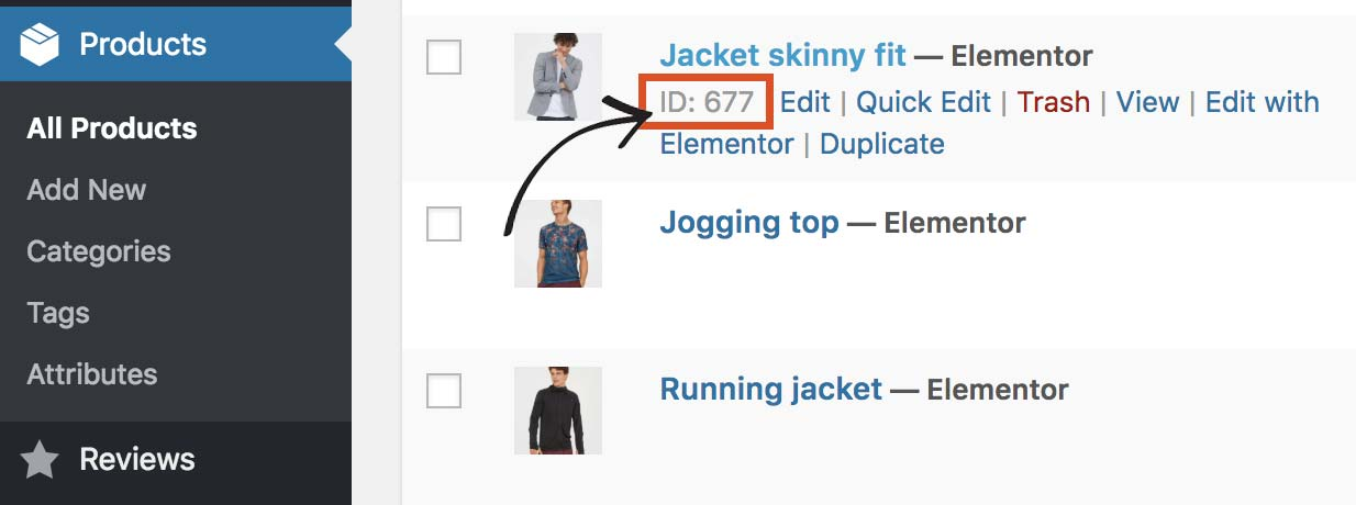 Hover over a product to reveal the ID