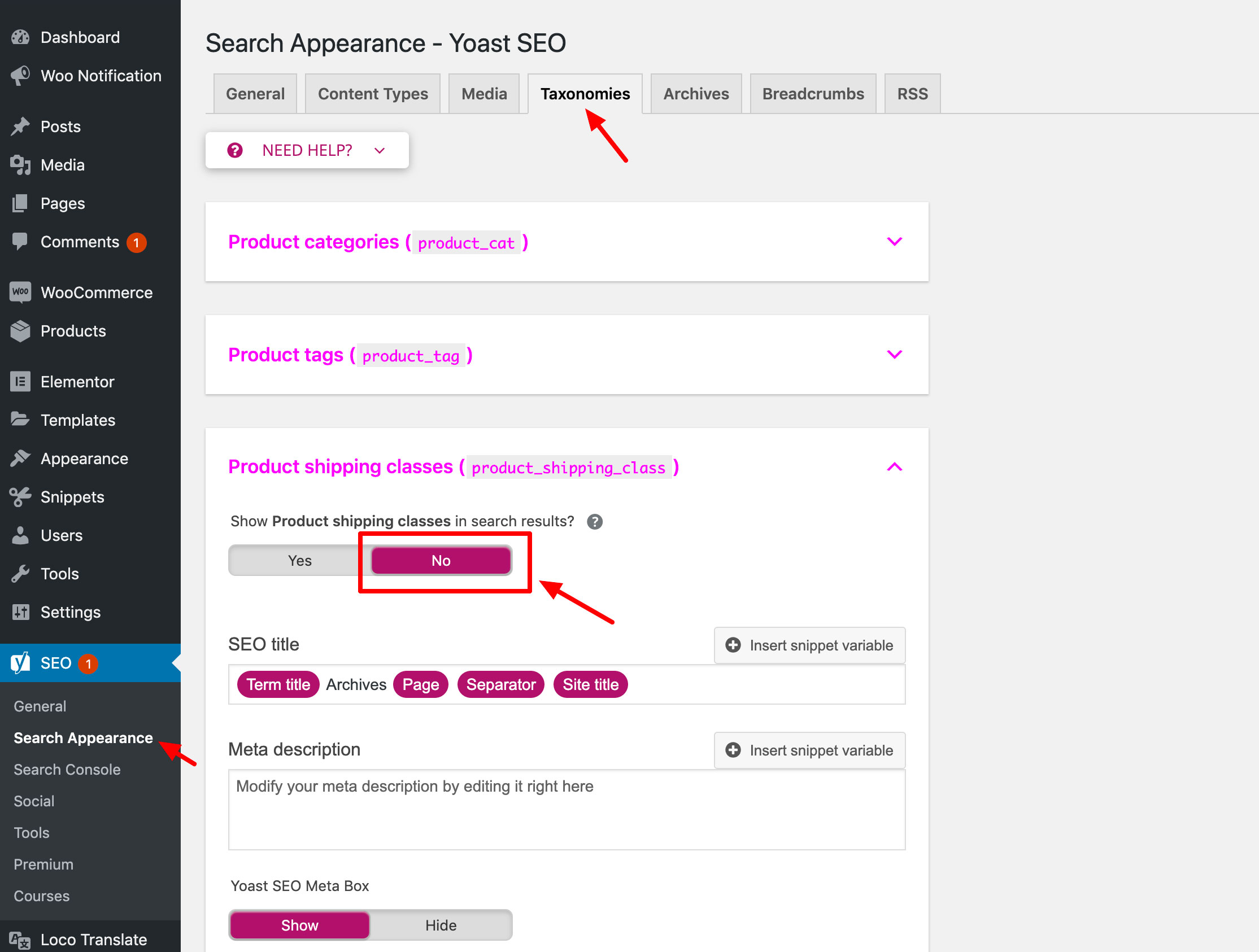 Shipping Classes in Yoast