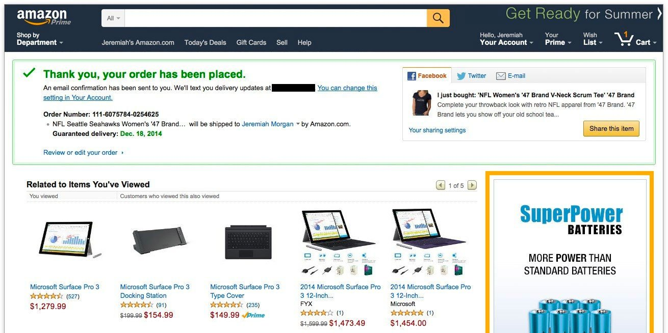 Amazon's Thank You Page