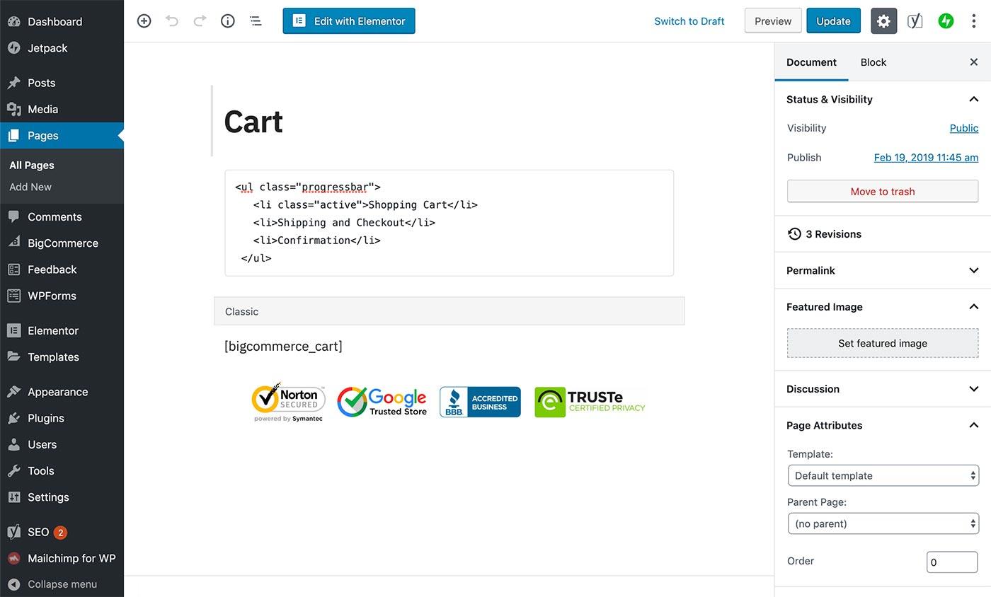 Adding a progress bar to the cart