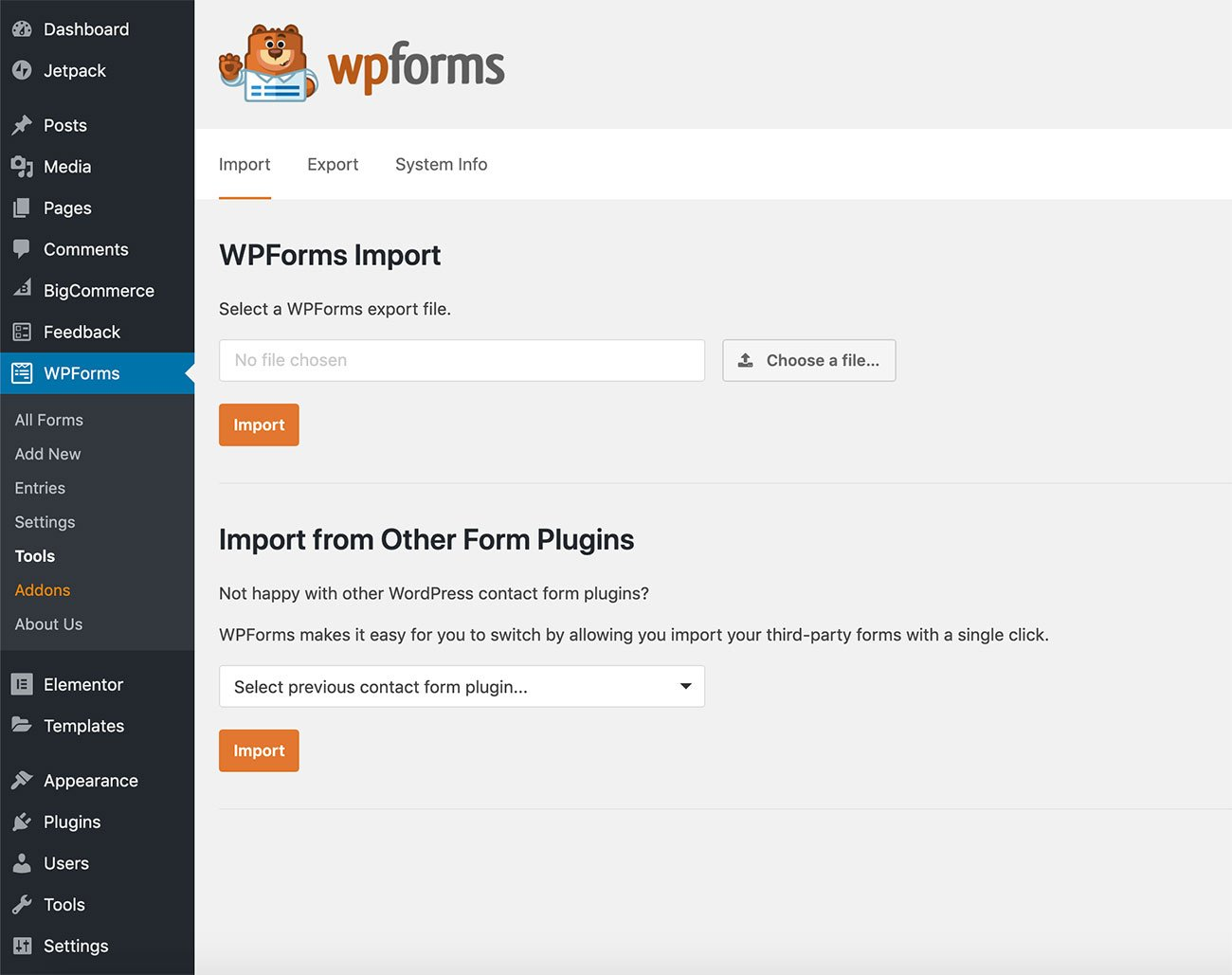 Import the demo forms