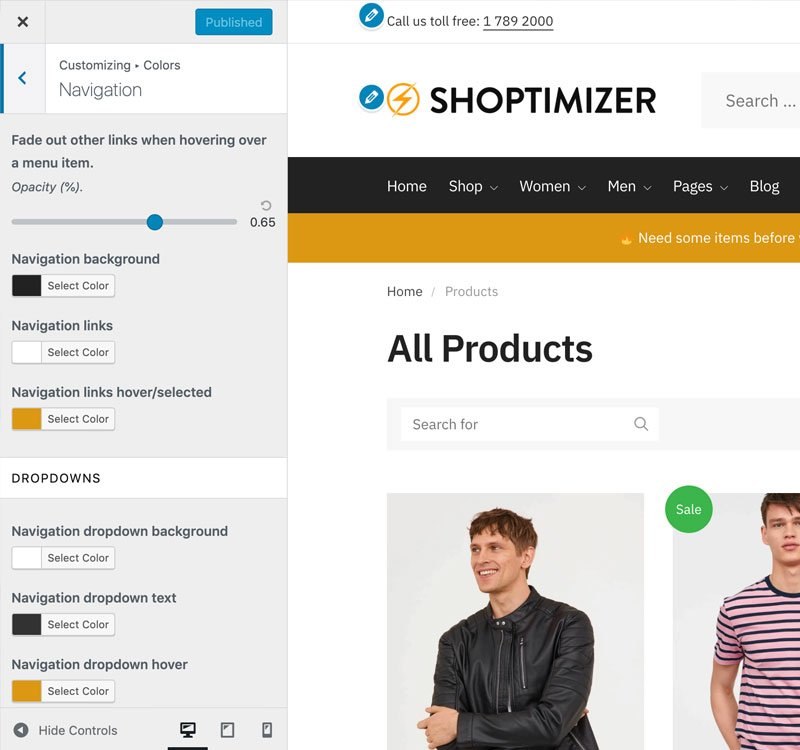 Use the WordPress customizer for instant design changes.