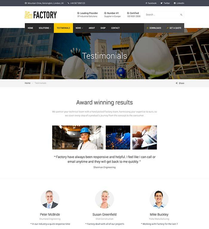 Factory Testimonials