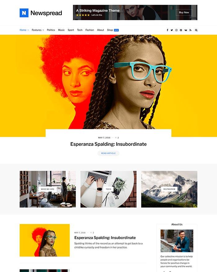 Newspread homepage