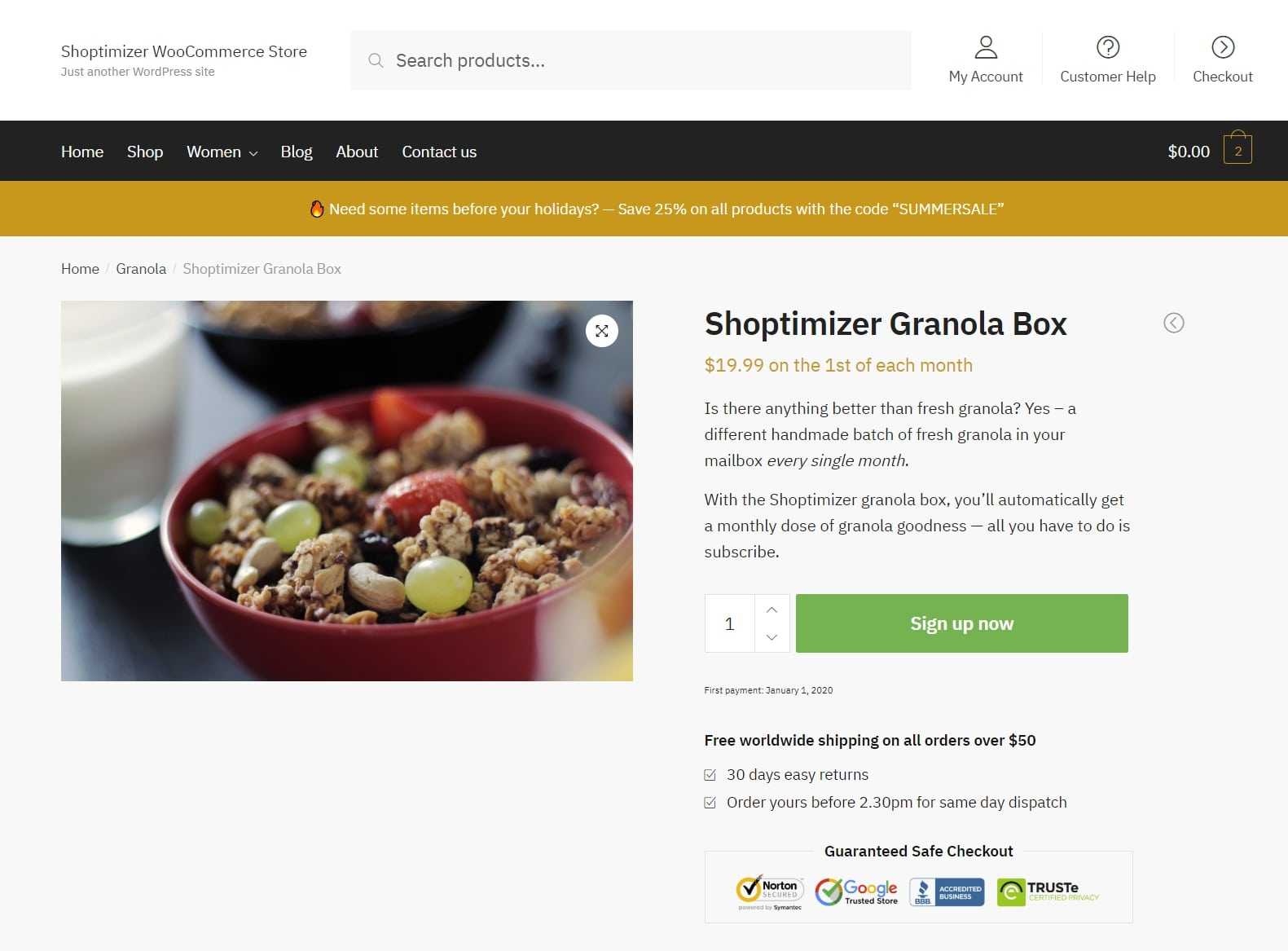 WooCommerce Subscriptions example product