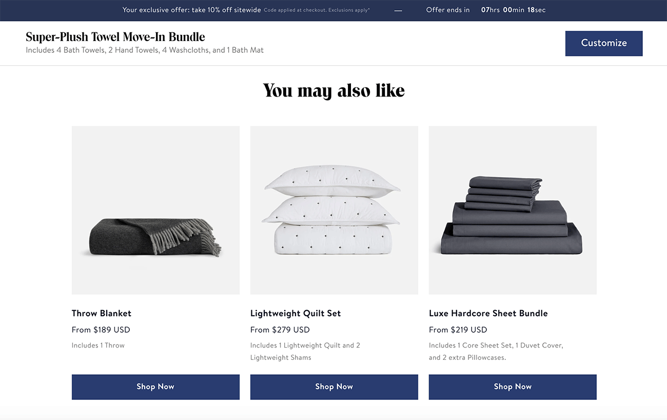 Cross sells should be intelligent on product pages