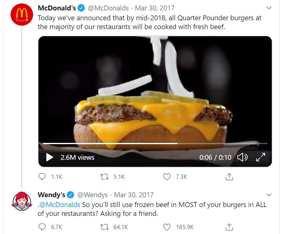 Wendy's and McDonald's on Twitter