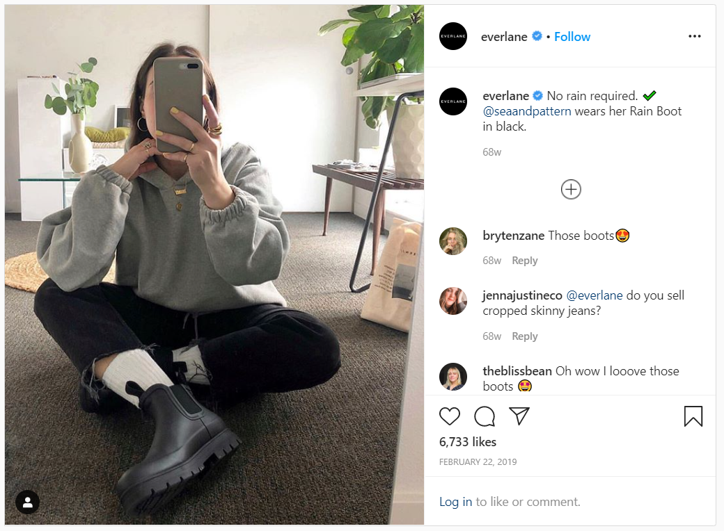 Everlane Instagram post