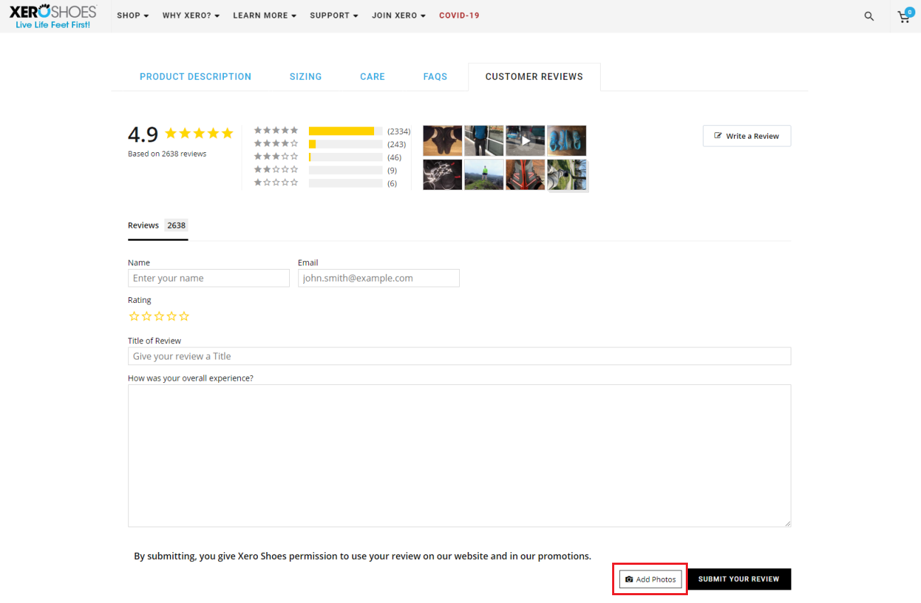 Xero Shoes product page reviews