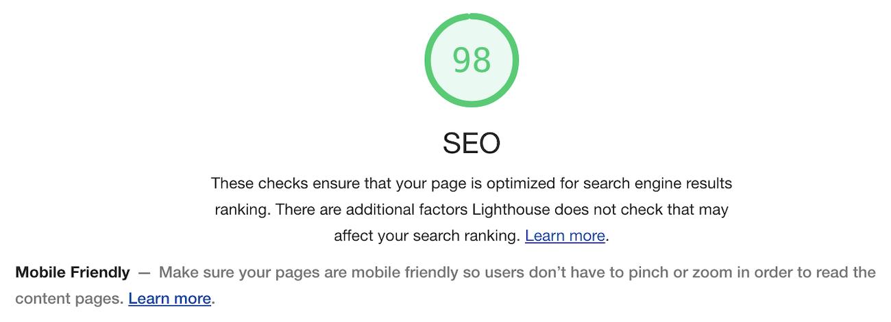 Google Lighthouse's SEO test