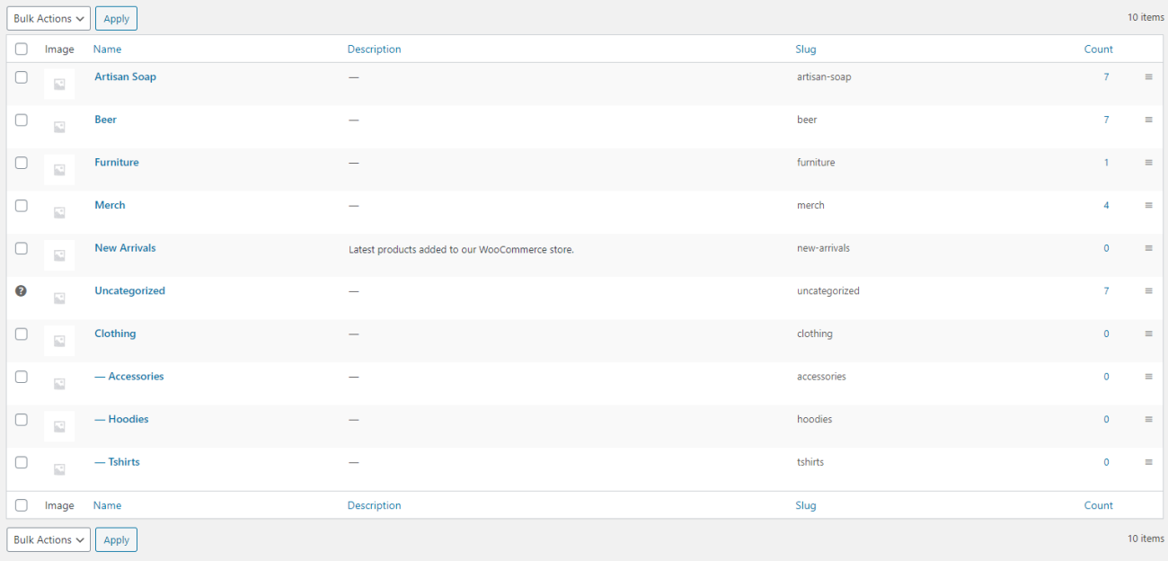 WooCommerce product categories
