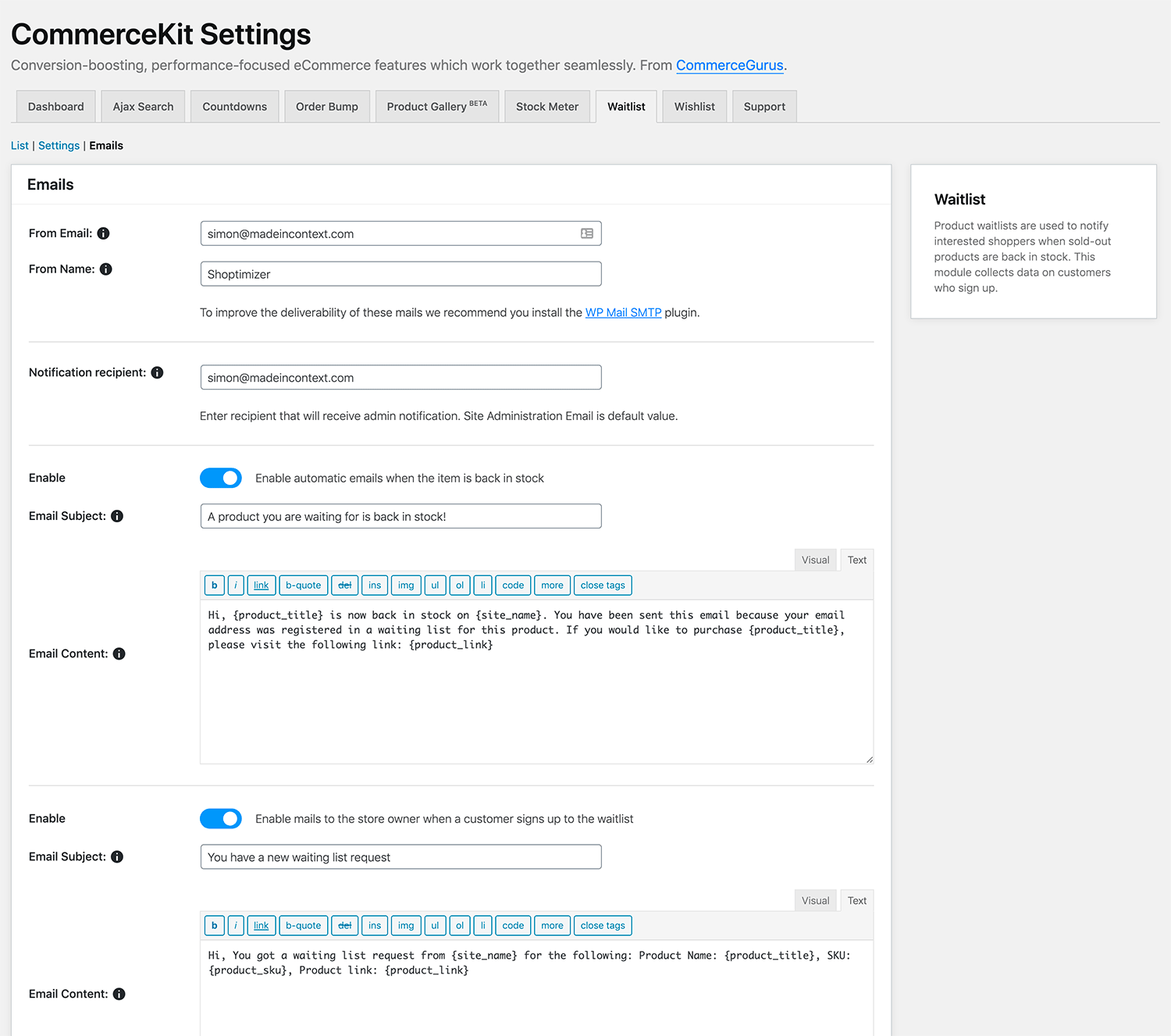 Waitlist email settings