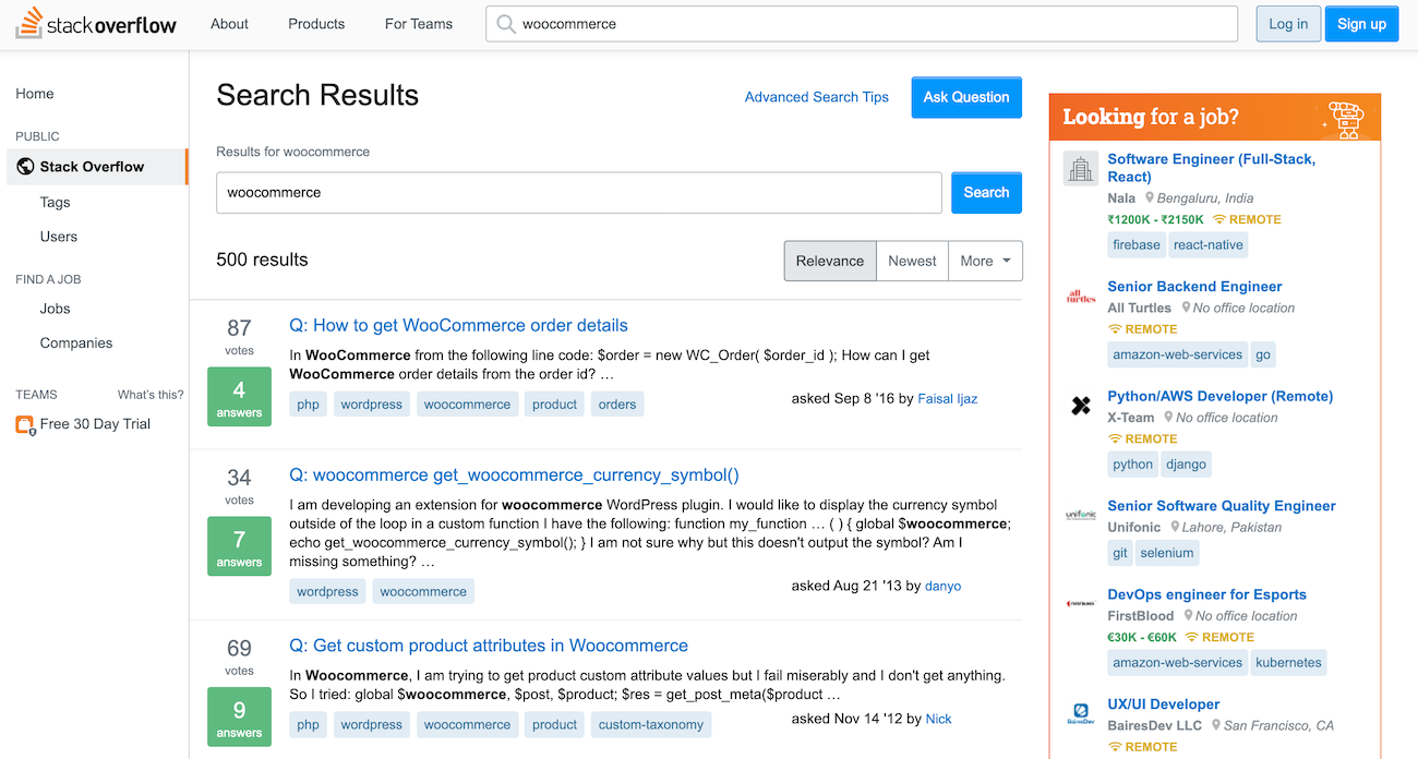 Stack Overflow search results