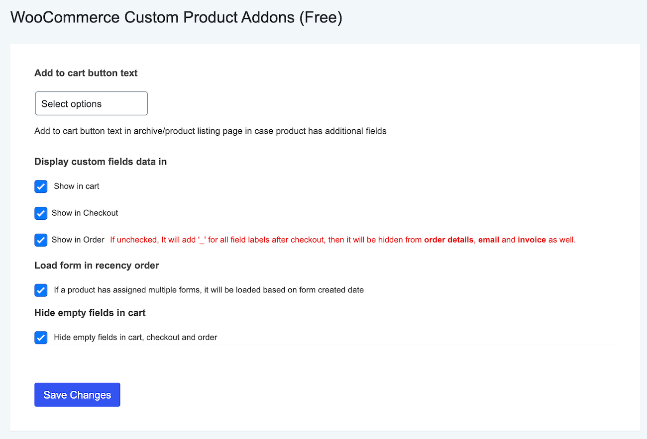 Product Addons for WooCommerce settings page.