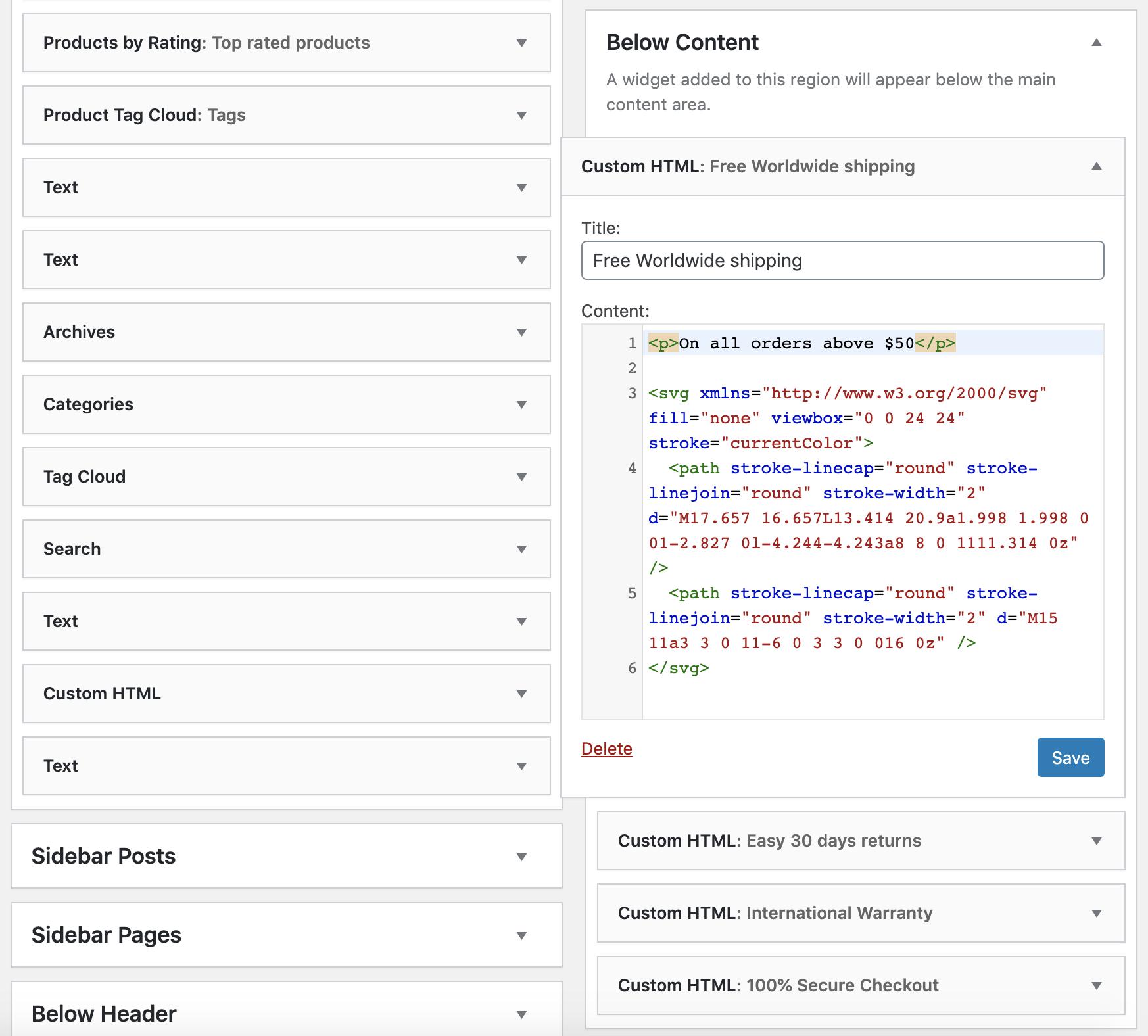 Below Content widget svg code example