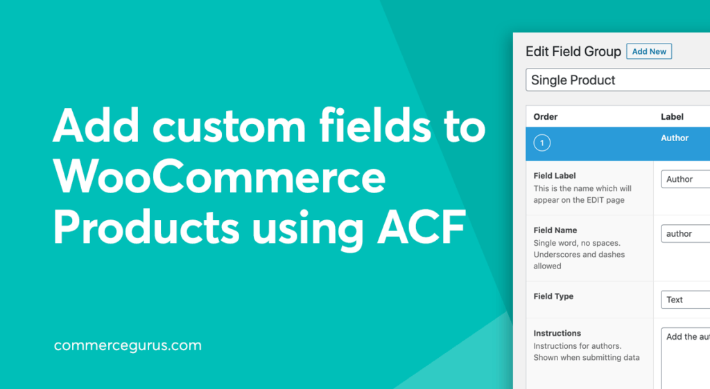 Add custom fields to WooCommerce Products using ACF