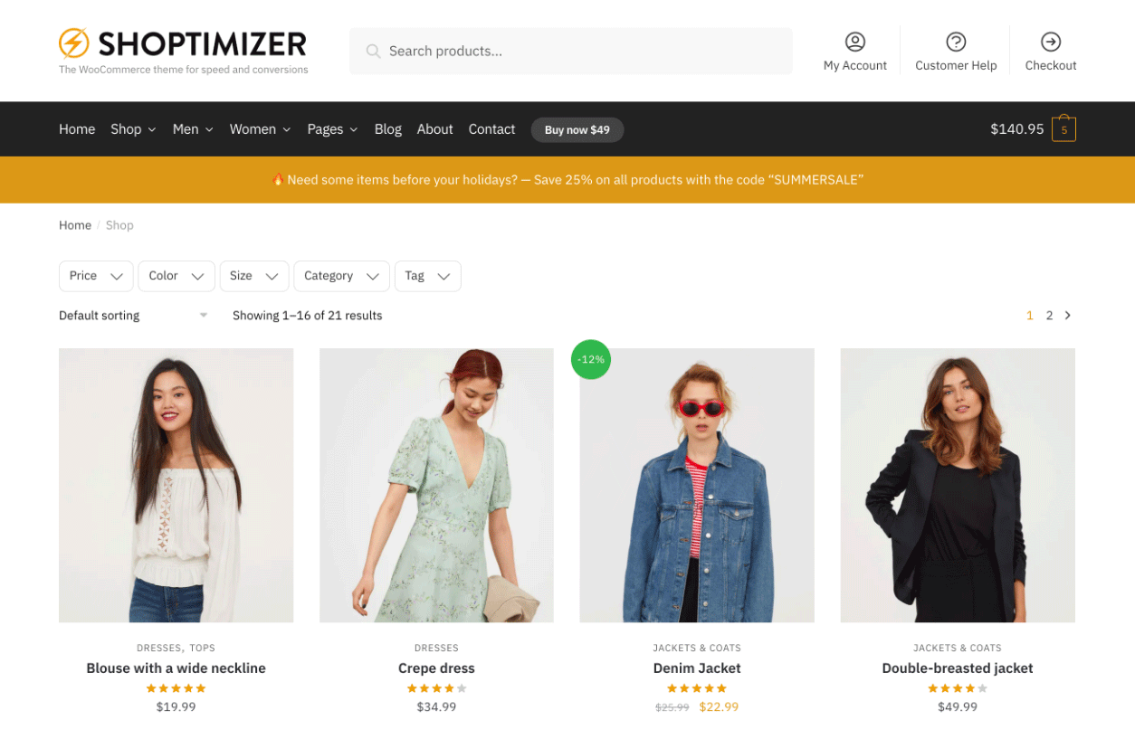 Horizontal filters now appear on the Shop page