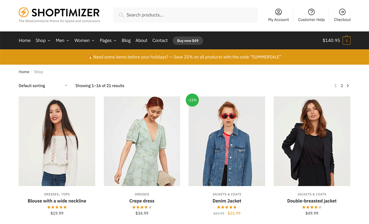 Full width Shop page with no sidebars