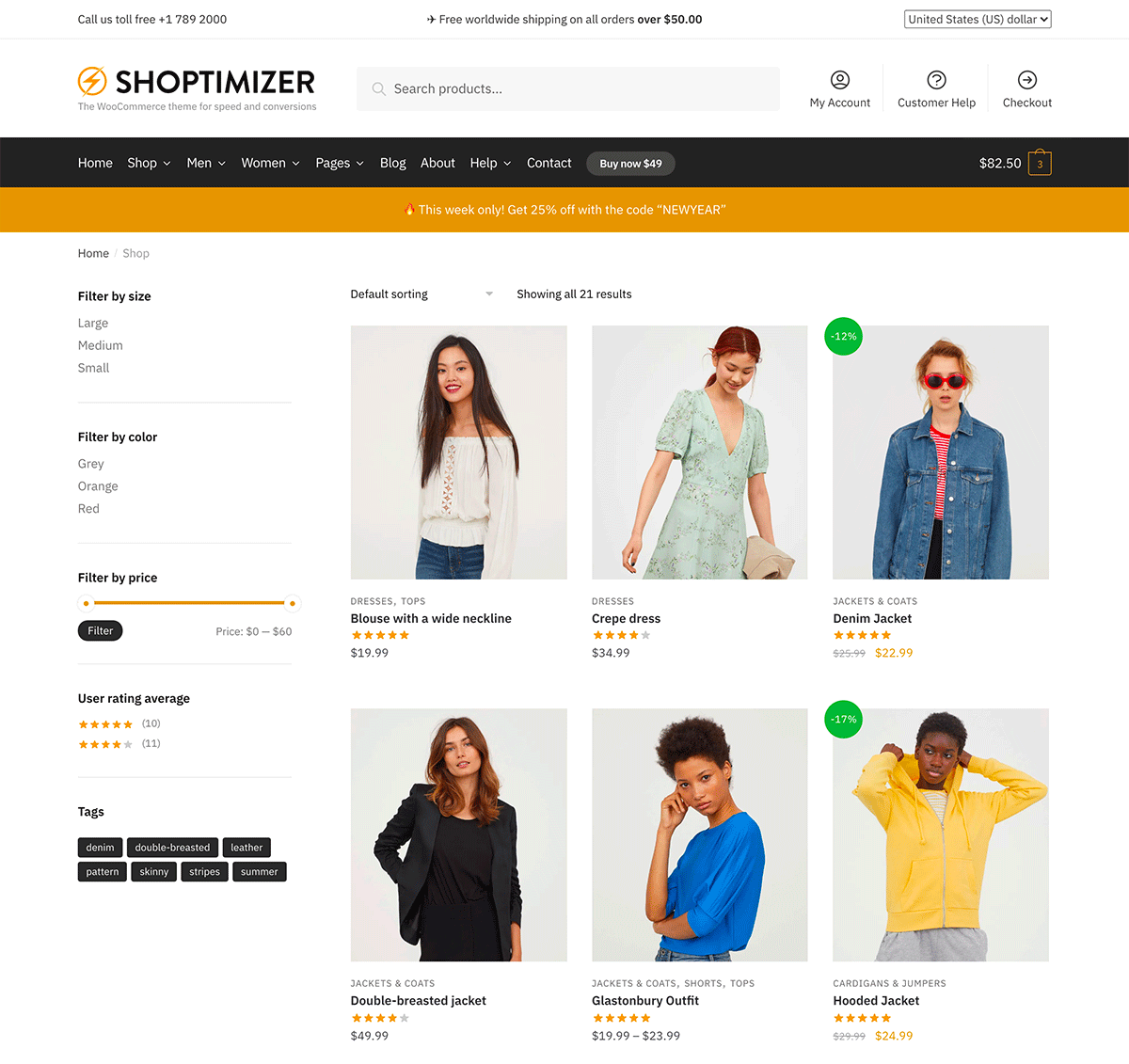 The Shoptimizer shop with default WooCommerce filter widgets displayed in the sidebar