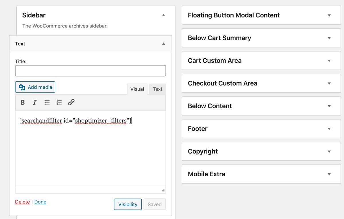 Adding a filters widget