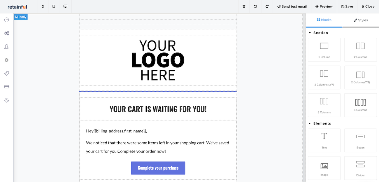 Retainful email template