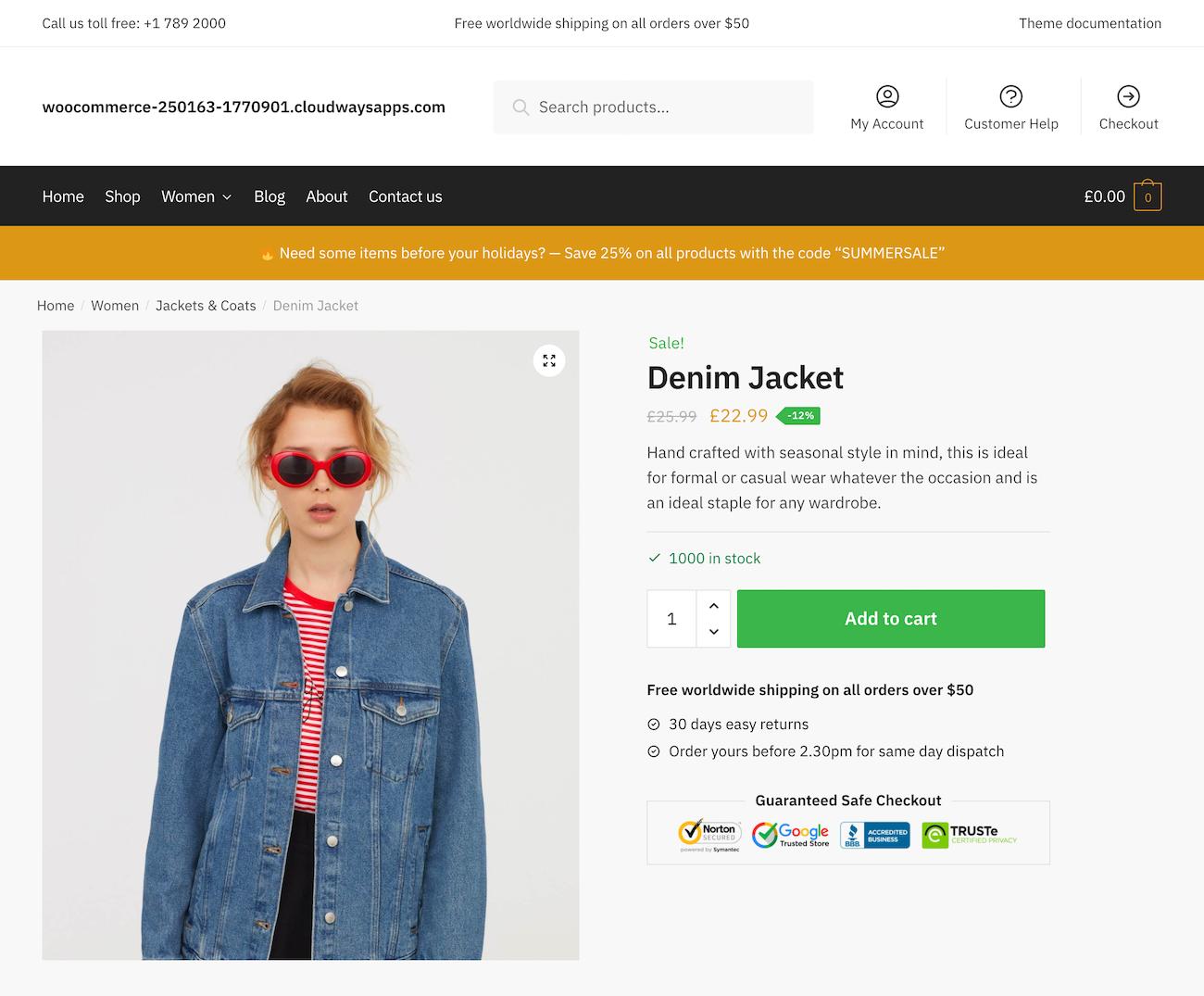 Shoptimizer single product page