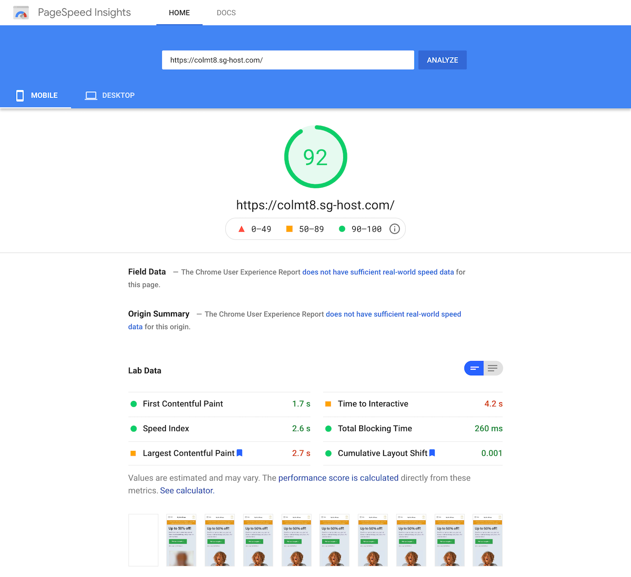Google PageSpeed Insights test of the homepage