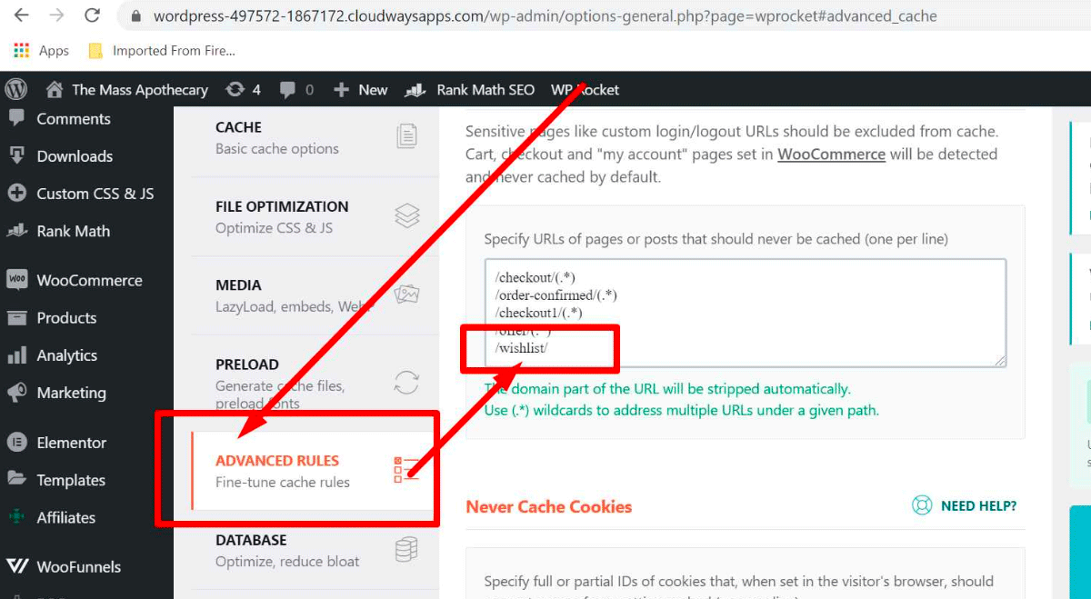Exclude the wishlist page in WP Rocket