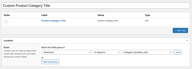 ACF - Custom category title
