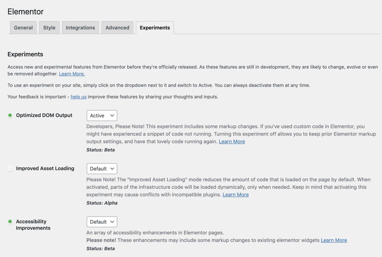 Elementor's new optimized DOM settings