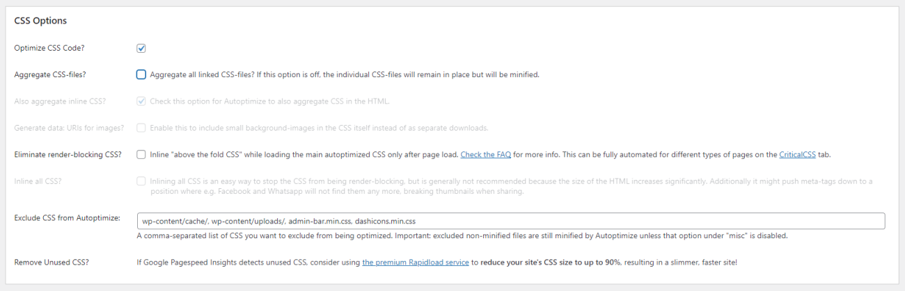 CSS options