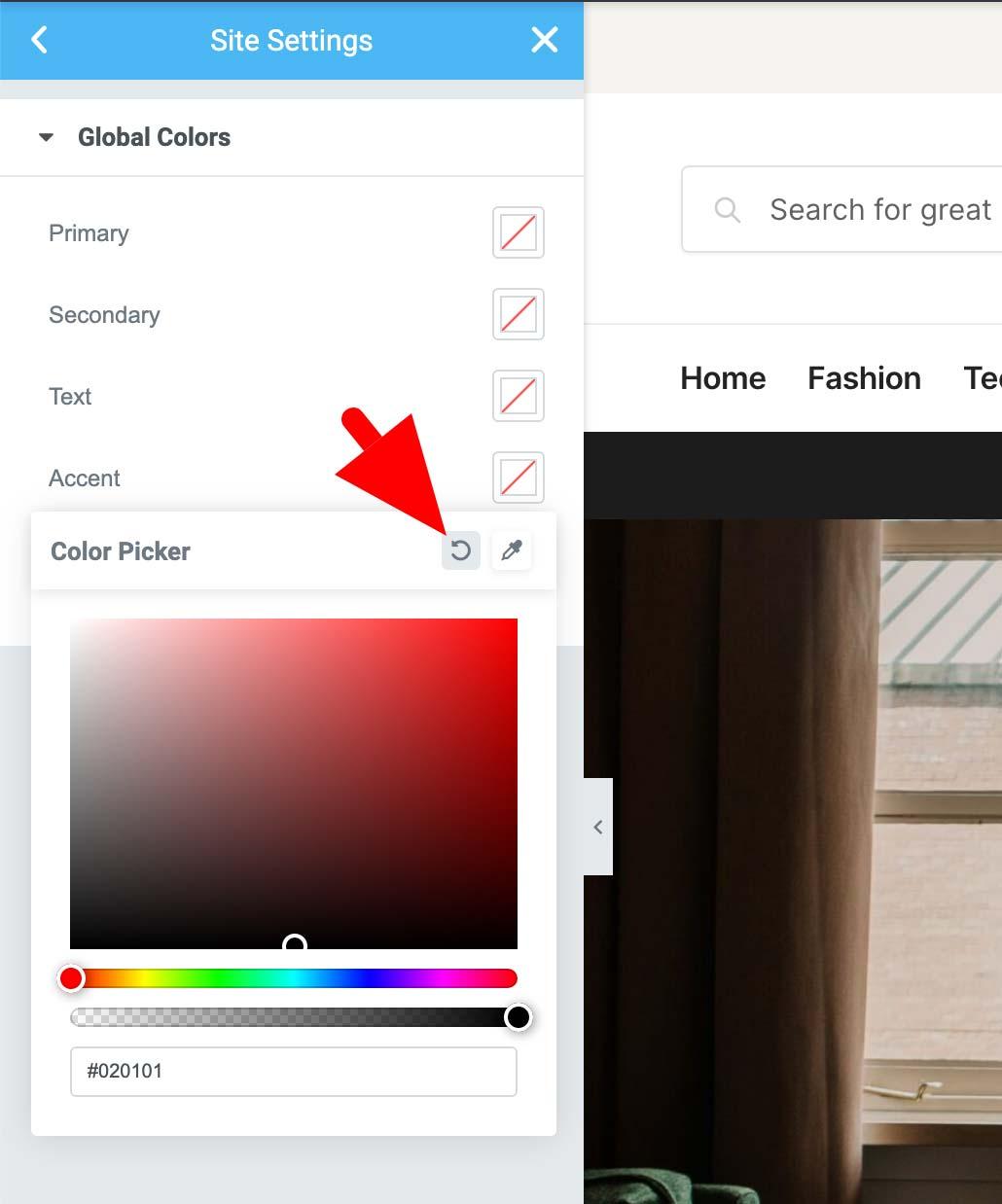 Elementor colors - change to transparent